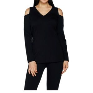 H by Halston Cold Shoulder Top
